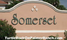 sign marking the entrance to the Somerset subdivision located within the Turtle Rock community on Palmer Ranch.