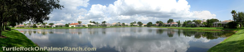 Some of the fine residences within Turtle Rock in Sarasota overlook a tranquil lake.